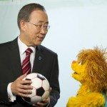Secretary-General Ban Ki-moon with Kami from Sesame Street
